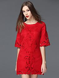 baratos -frmz sair bainha do vintage dressembroidered em torno do pescoço de mini comprimento da manga de poliéster vermelho / spandex verão