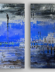 cheap -Oil Painting Abstract Landscape Set of 2 Hand Painted Canvas with Stretched Framed Ready to Hang