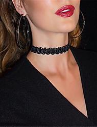 Недорогие -Жен. Ожерелья-бархатки Татуировка Choker  -  Тату-дизайн Мода европейский Круглый Черный Бежевый Ожерелье Назначение Для вечеринок
