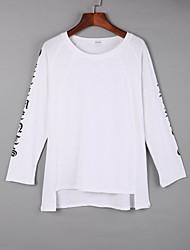 cheap -Women's Daily Casual Fall T-shirtSolid Round Neck Long Sleeve White / Black / Orange Cotton Medium