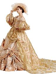 abordables -Victorien Rococo Costume Femme Robes Bal Masqué Costume de Soirée Doré Vintage Cosplay Dentelle Coton Poète Long Traîne Tribunal