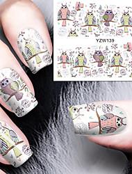 coruja dos desenhos animados da arte do prego decalques de água de transferência de pregos etiqueta nascida bonita