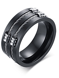 cheap -Men's Fashion Personality 316L Titanium Steel Black Ring Polishing Band Rings Casual/Daily Accessory 1pc