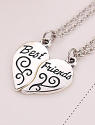 cheap -Geometric Pendant Necklace - Silver Plated Friends, Heart, Love European Silver Necklace 2pcs For Thank You, Gift, Daily