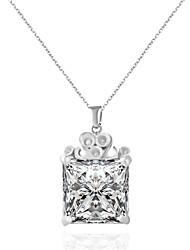 economico -Da donna Girocolli Collane con ciondolo Quadrato Di forma geometrica Strass Acciaio al titanio imitazione diamante LegaAdorabile