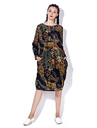 cheap -Women's Boho Loose Dress Print