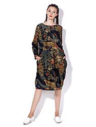 baratos -Mulheres Boho Solto Vestido - Estampado Médio