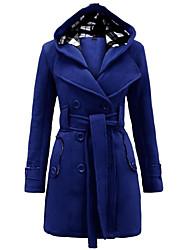 Solide Einfach / Street Schick Mantel,Winter Mit Kapuze Langarm Blau / Rot / Beige / Schwarz / Grau / Lila Mittel Polyester