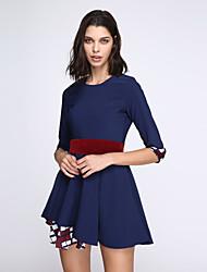 Diário balanço Acima do Joelho Vestido Estampa Colorida Retalhos Decote Redondo