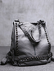 Women Bags All Seasons PU Sheepskin Shoulder Bag with Rivet for Shopping Casual Outdoor Black Gray