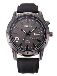 abordables -Hombre Cuarzo Reloj de Pulsera / Gran venta Piel Banda Casual Reloj de Vestir Moda Negro Marrón Gris