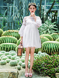 cheap -Women's Going out / Daily Simple Chiffon DressSolid Round Neck Above Knee  Sleeve White Others Summer /