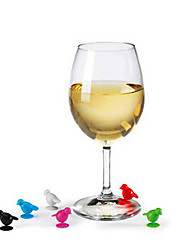 6Pcs Lot Silione Birds Shape Glass Markers For Wine Bottle Cocktails Drinks Party Random Color