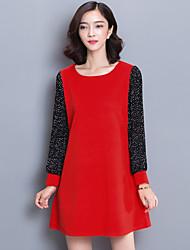 Damen Lose Kleid-Übergröße Einfach Patchwork Rundhalsausschnitt Übers Knie Langarm Rot / Schwarz Polyester Herbst Hohe Hüfthöhe