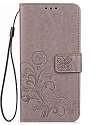Für Mi Hülle Geldbeutel / Kreditkartenfächer / mit Halterung / Geprägt Hülle Handyhülle für das ganze Handy Hülle Blume Hart PU - Leder