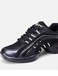 cheap -Women's Latin Shoes / Modern Shoes Leather Sneaker Lace-up Flat Heel Non Customizable Dance Shoes Black / Practice