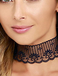 Women New Fashion Personality Simple Openwork Pattern Black Lace Sexy Retro Choker Necklaces 1pc