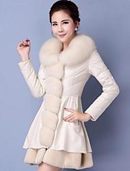Cappotto di pelliccia Da donna Casual Semplice Autunno Inverno,Tinta unita Bavero classico Capra Lungo Manica lunga