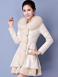 Women's Casual/Daily Simple Fall Winter Fur Coat,Solid Notch Lapel Long Sleeve Long Goatskin
