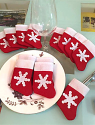 cheap -12 Pieces/Set Mini Christmas Stockings Dinnerware Cover Xmas tree decorations Christmas Decorations Festival Party