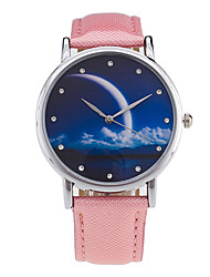cheap -Women's Quartz Digital Wrist Watch Moon Phase Leather Band Charm Vintage Candy color Casual Fashion Cool Black White Green Gold Pink