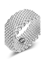 cheap -Fine 925 Silver Weave Band Ring for Women Wedding Party