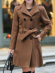cheap -Women's New Stand Double Breasted Solid Trench Coat , Casual / Work Long Sleeve