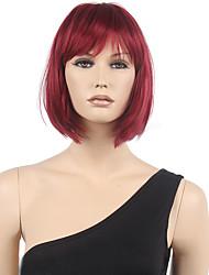 Недорогие -Парики из искусственных волос Жен. Прямой Красный Стрижка боб / С чёлкой Искусственные волосы Красный Парик Короткие Без шапочки-основы Черный / Бургундия