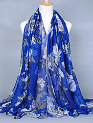 cheap -Women's Fashion Voile Flowers Print Cotton Scarf Red/Black/Brown/Blue/Gray/Green/Royal Blue