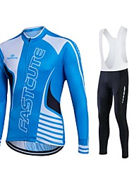 Fastcute Cycling Jersey with Bib Tights Men's Women's Unisex Long Sleeves Bike Jersey Tights Bib Tights Pants/Trousers/Overtrousers