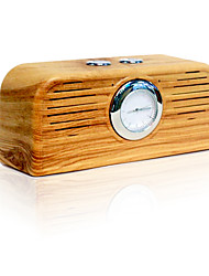 Wood Grain Retro Watch Bluetooth Speaker Fashion Design FM Raido Speaker Support TF Card with A Watch Time Display