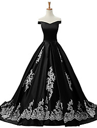 cheap -Ball Gown Off-the-shoulder Sweep / Brush Train Lace Satin Formal Evening Dress with Appliques Lace by Shang Shang Xi