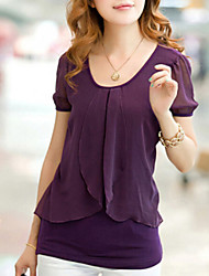 cheap -Women's Ruffle Casual Micro-elastic Short Sleeve Regular Blouse (Chiffon/Cotton Blends)
