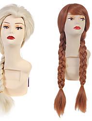 Donna Parrucche sintetiche Senza tappo Lungo Ondulati Media Auburn Bleach Blonde Parte laterale Con la coda di cavallo Con frangia