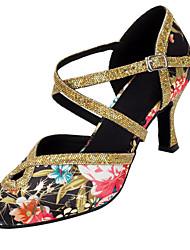 Damer Latin Moderne Paillette Satin Sandaler Hæle Professionel Indendørs Pailletter Spænde Personligt tilpassede hæle Sort og Guld