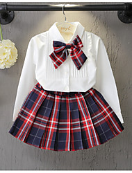 Girl's Casual/Daily Patchwork Dress / Clothing SetCotton / Rayon Spring / Fall White