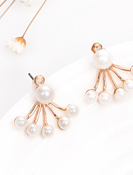 cheap -New Korean Fashion Jewelry Imitation Pearl Stud Earrings Fan-Shaped Flower Women Double Earrings Wedding Accessories