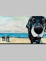 Large Size Hand Painted Dog Seaside Scenery Oil Painting On Canvas Wall Art With Stretched Frame Ready To Hang