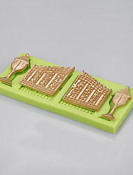 wholesale Fairytale Castle Door & Window Silicone Mould for fondant cake chocolate candy baking Color Random