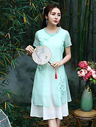 cheap -Our Story Women's Going out Chinoiserie Sheath DressEmbroidered Round Neck Midi Short Sleeve Green