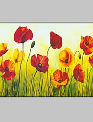 baratos -Pintura a Óleo Pintados à mão - Floral / Botânico Estilo Europeu Modern Tela de pintura