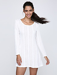 Women's Hot Solid Round Long Sleeve Loose Knit Dress