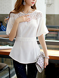 Pink Doll®Women's Round Casual/Lace OL Lantern Sleeve Shirt