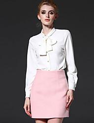 mola simples trabalho das mulheres frmz shirtsolid ficar meio de poliéster branco de manga comprida