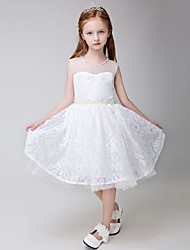 cheap -Ball Gown Knee Length Flower Girl Dress - Lace Sleeveless Jewel Neck by Lovelybees