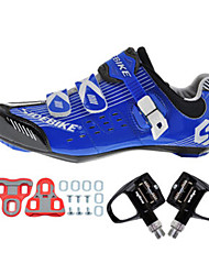cheap -SIDEBIKE Adults' Cycling Shoes With Pedals & Cleats / Road Bike Shoes Nylon Cushioning Cycling White / Black / Blue Men's