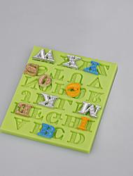 Molde de silicona fondant 26 forma de letra inglesa para pastel de fondant chocolate herramientas de decoración molde de arcilla fimo color aleatorio