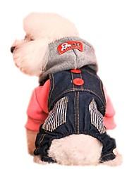 Недорогие -Кошка Собака Толстовки Комбинезоны Одежда для собак Праздник Мода Джинсы Красный Синий Костюм Для домашних животных