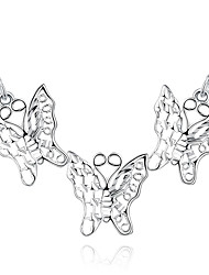cheap -Women's Butterfly Sterling Silver Cubic Zirconia Silver Plated Pendant Necklace  -  Fashion Animal White Necklace For Party Daily Casual