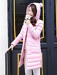 billige -Langærmet Normal Vatteret Dame Frakke,Simpel Afslappet/Hverdag Ensfarvet-Polyester Polyester Hætte Rosa Sort Grå